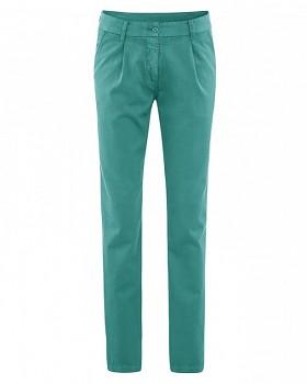 ALICE dámské kalhoty z biobavlny a konopí - tyrkysová pacific
