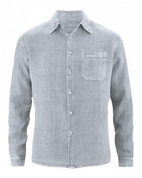 BILLY pánská košile ze 100% konopí - šedohnědá mud