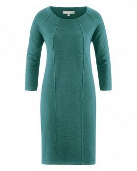 ANDREA Dámské šaty z konopí a biobavlny - tyrkysová pacific