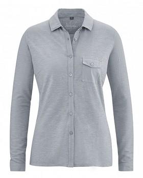 ANETTE dámské polo triko s dlouhým rukávem z konopí a biobavlny - šedá cínová
