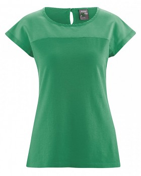 AUDRY dámský top z konopí, biobavlny a hedvábí - smaragdová