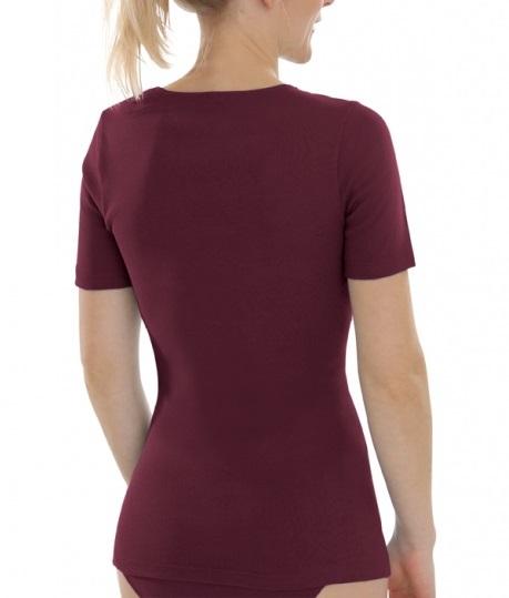 6fc20709c4 Comazo Earth Dámské tričko s krátkými rukávy ze 100% biobavlny - fialová  burgund 30denni garance vraceni zbozi logo - fair trade oblečení z  biobavlny