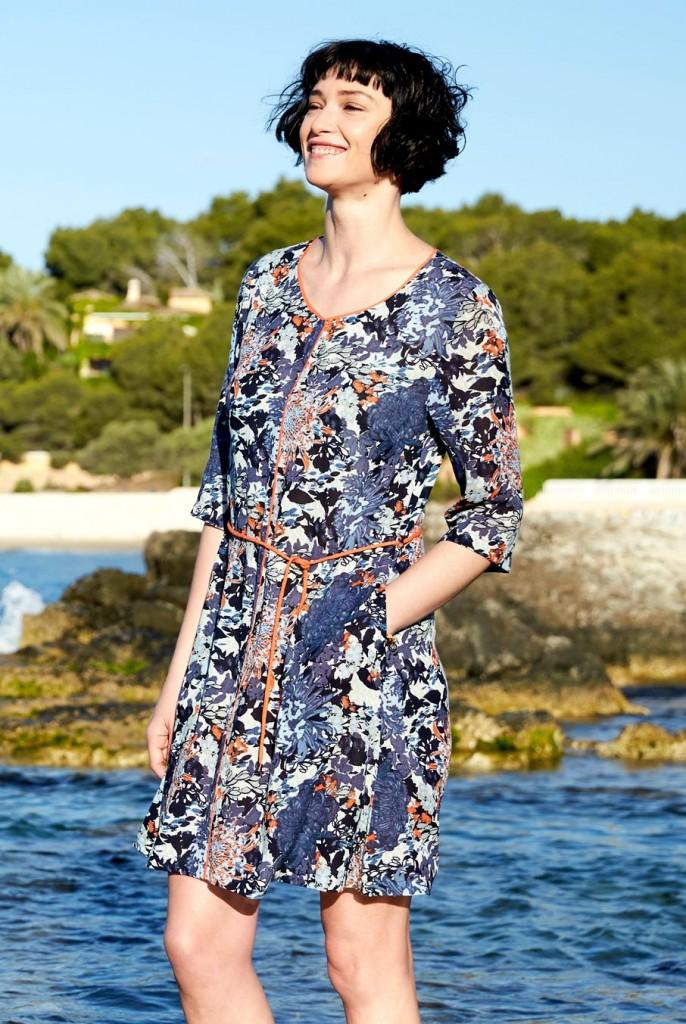 9f660320741 HANA dámské letní šaty z mačkané bavlny - modrá. 5 obrázků v galerii