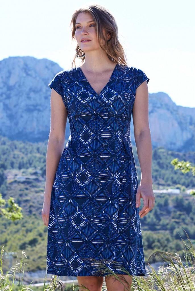 592a967558f GLAM dámské letní šaty ze 100% biobavlny - modrá navy. 4 obrázky v galerii