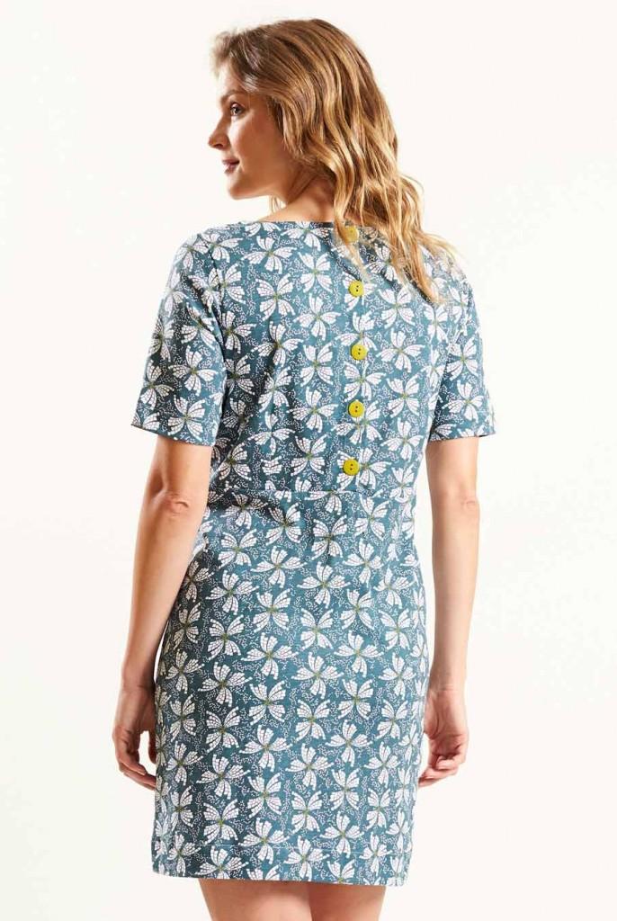 4fde6e59ffe9 PAPILLON dámské letní mini šaty   tunika ze 100% biobavlny - světle modrá  verdigris. 3 obrázky v galerii