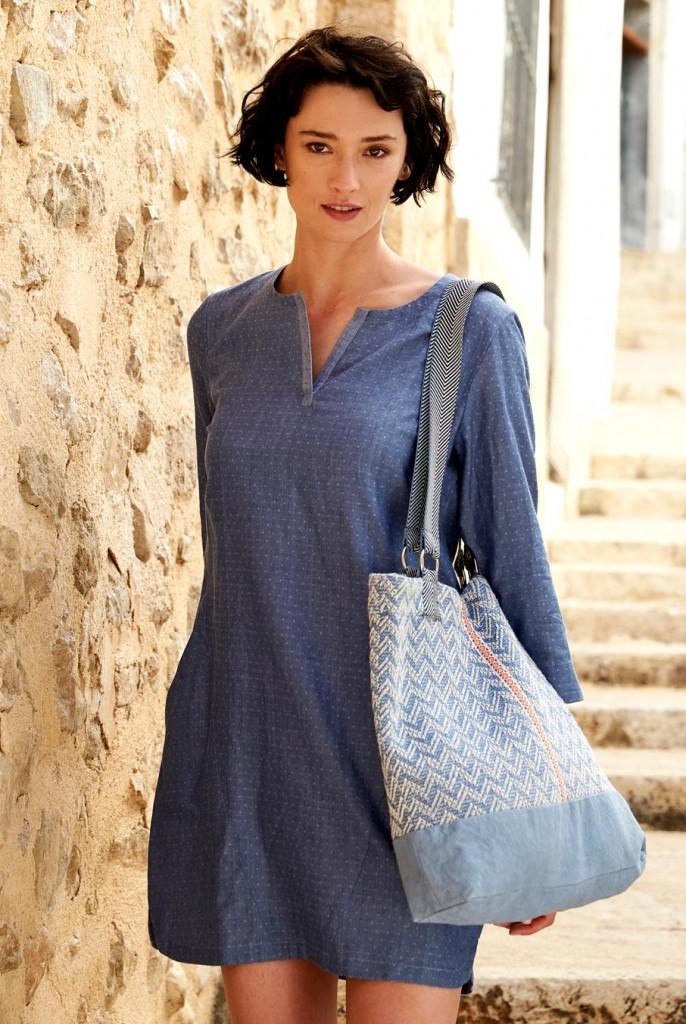CHAMBRAY dámské letní tunikové šaty z tkané bavlny. 4 obrázky v galerii 5db0907c49