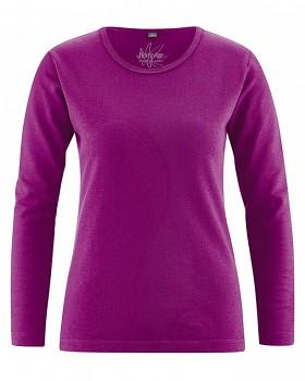 NAOMI dámské triko s dlouhým rukávem z konopí a biobavlny - fialová berry