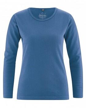 NAOMI dámské triko s dlouhým rukávem z konopí a biobavlny - modrá sea