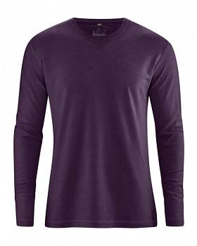 DIEGO pánské tričko s dlouhým rukávem z biobavlny a konopí - fialová lilková