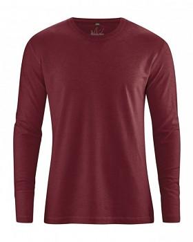 DIEGO pánské tričko s dlouhým rukávem z biobavlny a konopí - červenohnědá chestnut