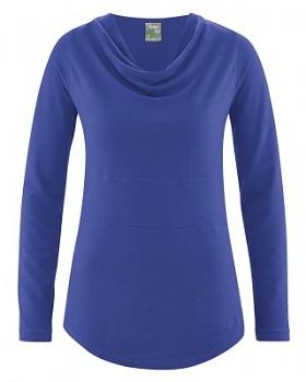 RIHANNA dámské triko s dlouhým rukávem z konopí a biobavlny - modrá chrpová