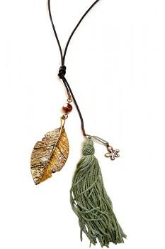 Střapcový náhrdelník - zelená