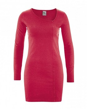 DIANA Dámské šaty z konopí a biobavlny - červená chilli