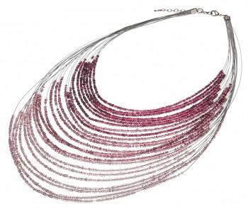 PURPLE&GREY náhrdelník s drobnými korálky fialová