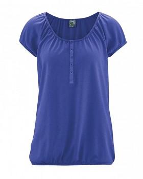 CLARA dámské triko s krátkým rukávem z konopí a biobavlny - modrá chrpová