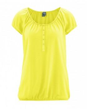 CLARA dámské triko s krátkým rukávem z konopí a biobavlny -žlutá citrus