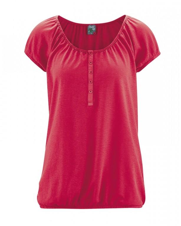 190f4e00ad CLARA dámské triko s krátkým rukávem z konopí a biobavlny - červená chilli