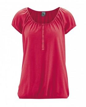 CLARA dámské triko s krátkým rukávem z konopí a biobavlny - červená chilli