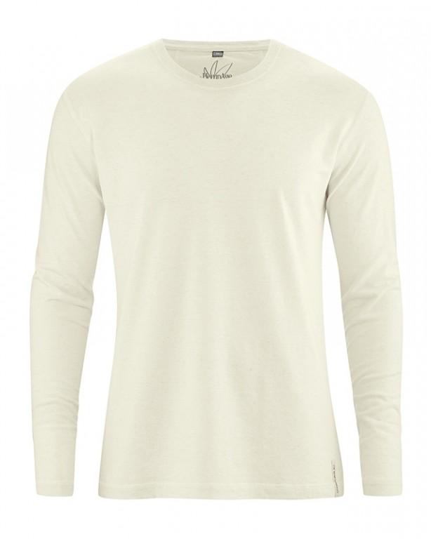 DIEGO pánské tričko s dlouhým rukávem z biobavlny a konopí - přírodní a3d56b7bb3