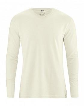 DIEGO pánské tričko s dlouhým rukávem z biobavlny a konopí - přírodní