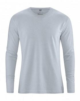DIEGO pánské tričko s dlouhým rukávem z biobavlny a konopí - sv. šedá platinová