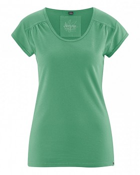 NANNI Dámské tričko z konopí a biobavlny - zelená smaragdová