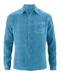 BILLY pánská košile ze 100% konopí - modrá atlantic