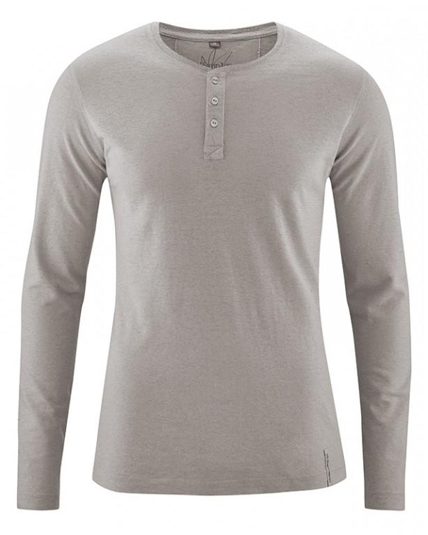SLY pánské tričko s dlouhým rukávem z konopí a biobavlny - šedohnědá ... a8d2f35034