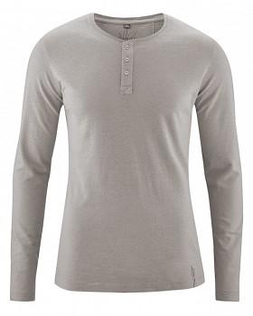 SLY pánské tričko s dlouhým rukávem z konopí a biobavlny - šedohnědá mud