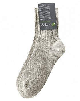 Teplé ponožky z konopí, biobavlny a jačí vlny - béžová melange