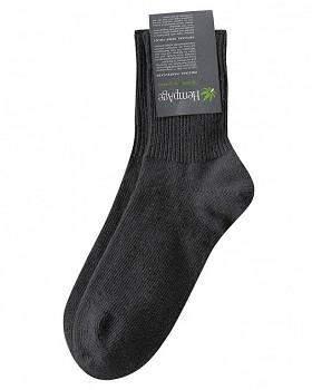 Teplé ponožky z konopí, biobavlny a jačí vlny - černá