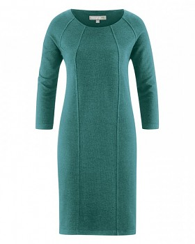 ANDREA Dámské šaty z konopí a biobavlny - modrozelená pacific
