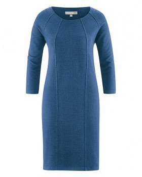 ANDREA Dámské šaty z konopí a biobavlny - modrá sea