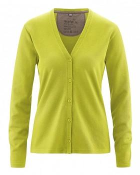DOREEN dámský svetr z konopí a biobavlny - zelená jablková