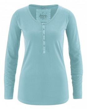 PAMELA dámské triko s dlouhým rukávem z konopí a biobavlny - tyrkysová