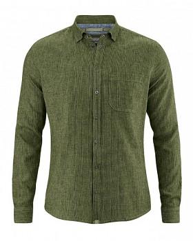 PATACHON pánská košile z konopí a biobavlny - zelená laurel