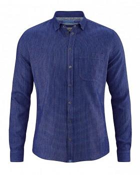 PATACHON pánská košile z konopí a biobavlny - modrá chrpová