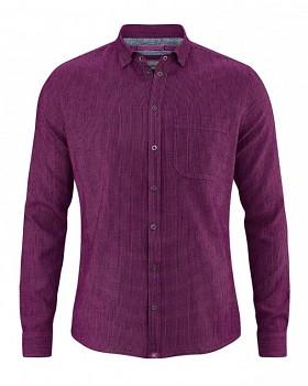 PATACHON pánská košile z konopí a biobavlny - fialová berry