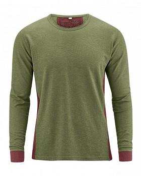 JOSEPH pánské tričko s dlouhým rukávem z biobavlny a konopí -  zelená laurel