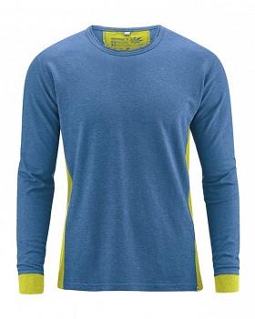 JOSEPH pánské tričko s dlouhým rukávem z biobavlny a konopí -  modrá sea