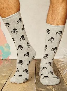 SKULL Pánské bambusové ponožky šedé
