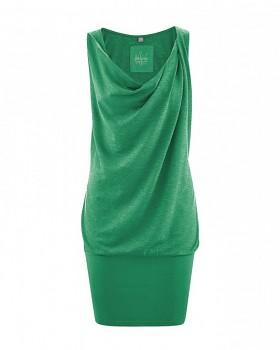 LETICIA Dámské letní šaty z konopí a biobavlny - zelená smaragdová