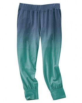 SUMMER capri kalhoty z konopí a biobavlny - modrozelená ink