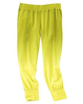 SUMMER capri kalhoty z konopí a biobavlny - žlutozelená jablková