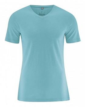 VINCE pánské tričko z biobavlny a konopí - tyrkysová