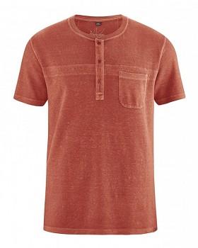 HOWARD pánské tričko z biobavlny a konopí - červená šípková