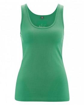 JUNE dámský top na ramínka z konopí a biobavlny - zelená smaragdová
