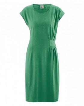 JESSY Dámské šaty z konopí a biobavlny - zelená smaragdová