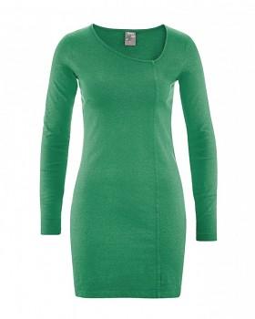 DIANA Dámské šaty z konopí a biobavlny - zelená smaragdová