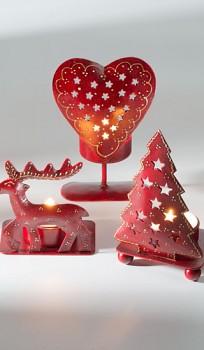 X-MAS červený svícen na čajové svíčky - různé druhy